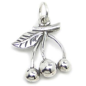 Cherries Sterling Silver Charm .925 X 1 Cherry Charms - 2894