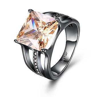 INALIS Elegant 12mm Gun Black Plated Zircon Rhinestone Diamond Rings Gift for W