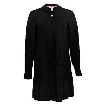 Isaac Mizrahi Live! Women's Sweater Shawl Collar Long Cardigan Black A385136