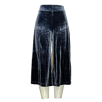 Isaac Mizrahi Live! Women's Pants Regular Knit Velvet Culotte Blue A387521