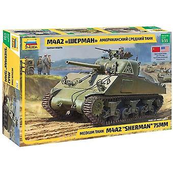 Zvezda 3702 M4A2 Sherman 75MM Medium Tank 1:35 Model Kit