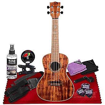 Kala ka-sa-c solid acacia series concert ukulele - satin natural + snark sn6x clip-on ukulele tuner, ukulele strap, universal guitar care ps05063