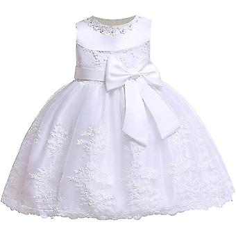 Baby Girls Bowknot Tutu Party Dresseswhite