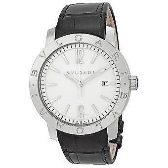 Bvlgari Bvlgari Automatic White Dial Black Leather Men's Watch BB41WSLD