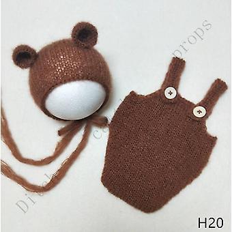 Handmade Mohair Teddy Bear Hat Shorts Newborn Photography Props