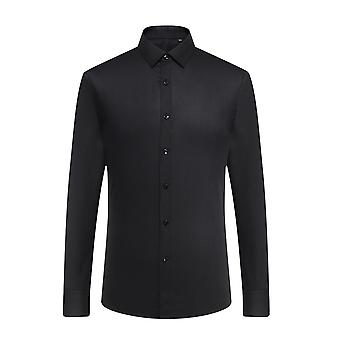 Yunyun Men's Solid Color Slim-fit Business Long-sleeved Shirt