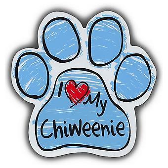 """Magnet, Hundepote, Blå Skribleri, Jeg elsker Chiweenie, 5.5"""" X 5.5"""""""