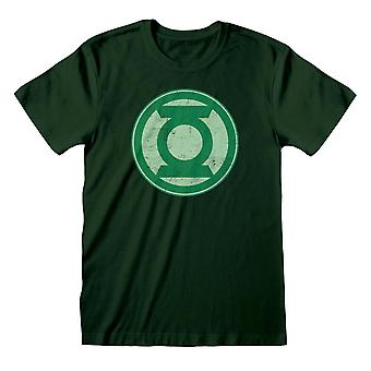 Justice League Mens Green Lantern Distressed Logo T-Shirt