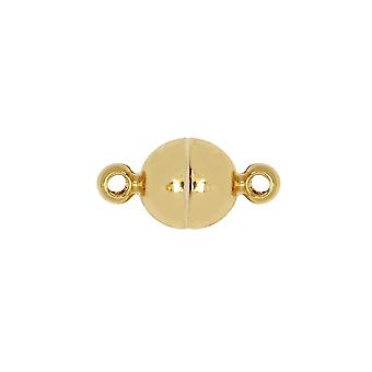 المشبك المغناطيسي، الكرة المستديرة السلس مع حلقات قطر 6mm، 1 مجموعة، الذهب لهجة النحاس