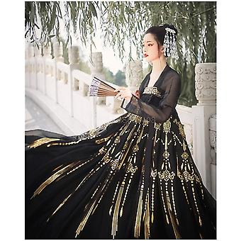 Traditional Ancient Black Gothic Floral Skirt