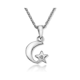 Lily & Lotty For Girls Sterling Silver 0.01ct Diamond ROXY Moon Star Charm Necklace