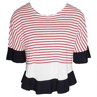 Oui 3/4 Sleeve Fine Knit Striped Jumper