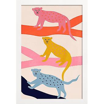 JUNIQE Print -  Leopard Tree - Leoparden Poster in Bunt