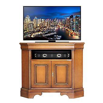 Corner TV holder saves wooden space