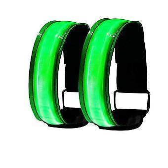 الأخضر قاد شريط توهج ضوء الذراع تضيء الأساور الرياضية حزمة معدات تشغيل السلامة المظلمة من 2 x5166