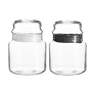 4x Sera Glass Storage Jars Kitchen Sweet Candy Food Pots Sealed Lid 635ml Multi