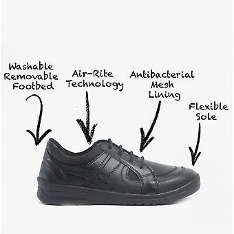 Start-Rite Yoyo Boys Leather Lace Up School Shoes Black