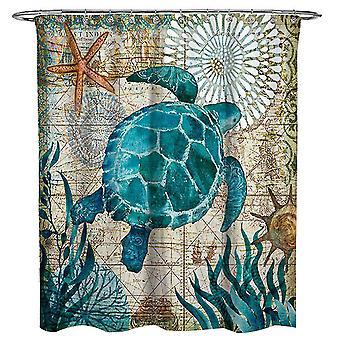 Морская черепаха Ванная комната Душ Шторы с 12 крючками 180x180cm