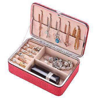 مجوهرات تخزين مربع بو الجلود السفر الأقراط مستحضرات التجميل المحمولة أصحاب القضية