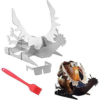 Motorcycle Beer Can Chicken Roaster Holder Portable For Outdoor Grill