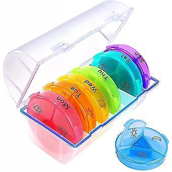 Pillilaatikko 7 päivä am pm (3 kertaa päivässä) Viikoittainen pilleri laatikko kotelo matkapilleri järjestäjä kosteudenkestävä