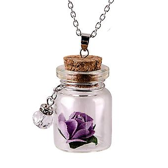 Glow In The Dark Flower Glass Tiny Wishing Bottle Vial Necklace Pendant Chain