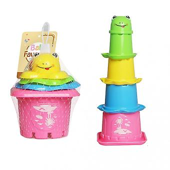 Intellectual Fun Cartoon Frog Castle Stack Cup Play Bath Toy Children