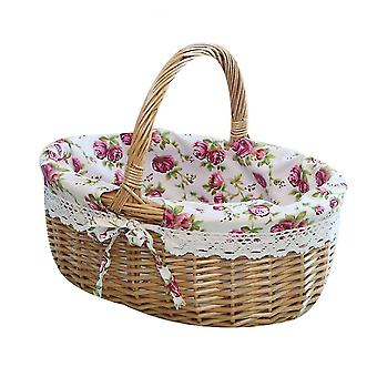Picnic Basket Natural Woven Woodchip With Double Folding Handles  Basket(Purple)