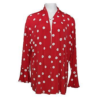 Susan Graver Suéter de Mujer Plus Cardigan w / Flounce Cuffs Red A347095