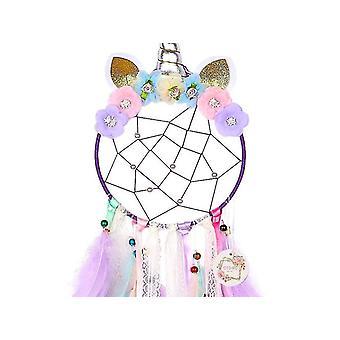 Värikäs sulka yksisarvinen unelmien sieppari koristeet, lahjat (violetti)