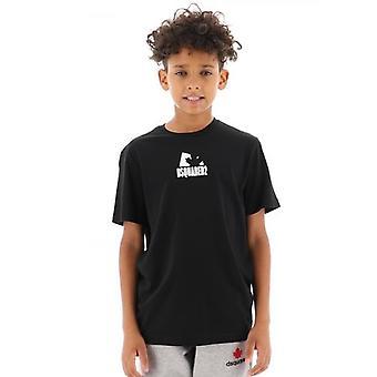 DSQUARED2 Bambini Black Shadow Leaf T-Shirt