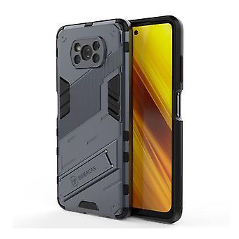 BIBERCAS Xiaomi Mi 10 Lite Case with Kickstand - Shockproof Armor Case Cover TPU Gray