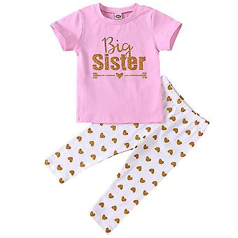 Kinder Mädchen Sommer Big Sister T-Shirt Tops Hose Sets Outfit Kleidung