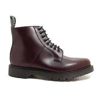 Loake Niro Bourgogne Cuir Poli Hommes Plain Front Derby Boots