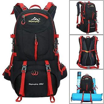 50l Travel Backpack With Waterproof Rain Cover For Outdoor Travel Climbing Camping Black