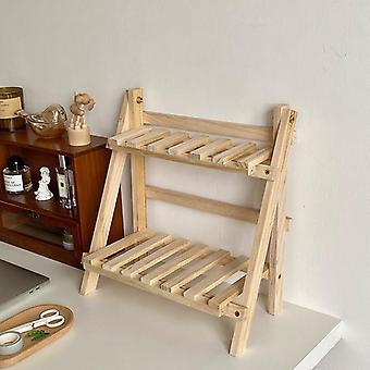 خشبية مزدوجة طبقة المطبخ الرف المنزل تخزين منظمة الجدول الجرف غرفة الملحقات