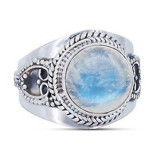 Ring Silver 925 Sterling Silver Rainbow Moonstone White Stone (Nr: MRI 157)