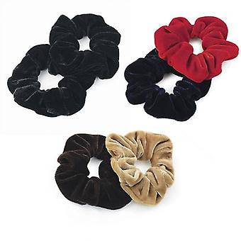 2 Piece Velvet Look Elasticated Hair Scrunchies Various Colours