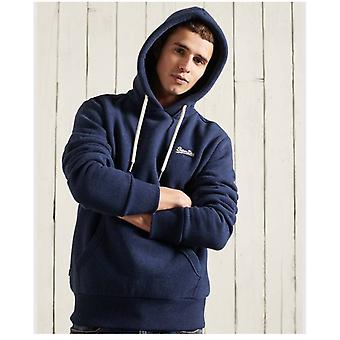 Superdry orange label classic hoodie - midnight blue grit