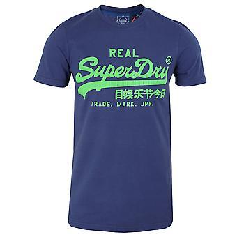 Superdry miesten rajaseutu sininen logo t-paita