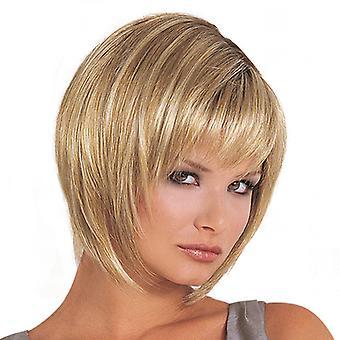 Brand Mall Peruki, Koronkowe Peruki, Realistyczne Puszyste Krótkie Włosy Proste Włosy Golden Personality Wig