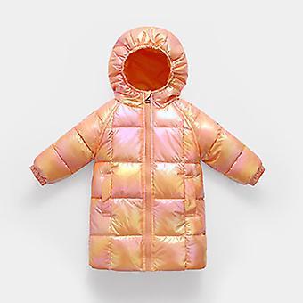 Narancssárga téli gyermek ruházat hosszú gyermek kabát meleg pamut kabát