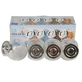 4-osainen Spice lasipurkkiin asettaa pieni monikäyttöinen varastointi purkit keittiö