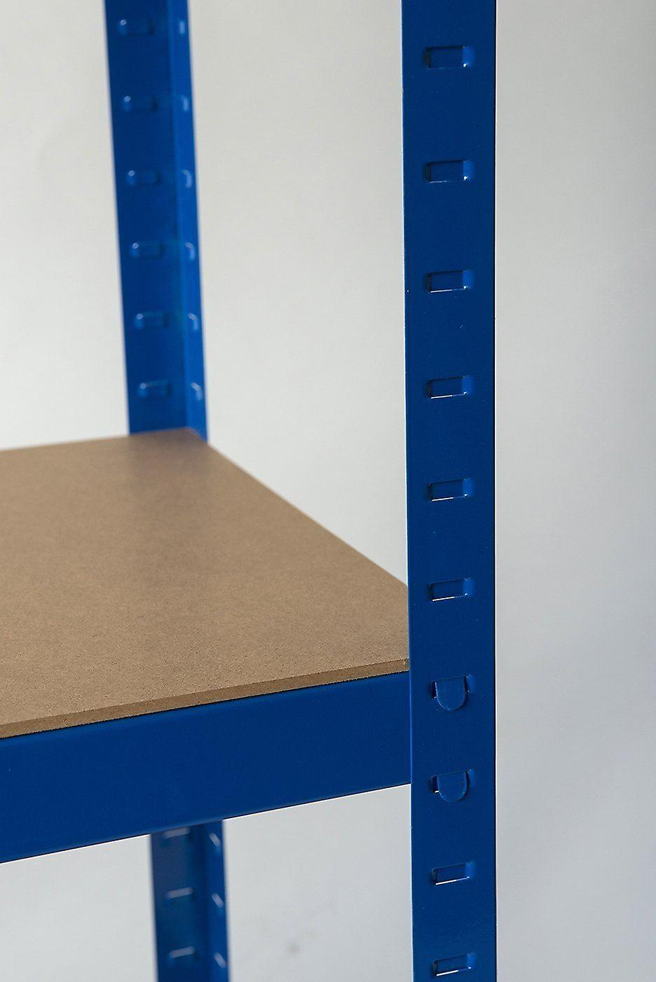 Heavy Duty Steel 5 Tier Racking & Storage Shelves or Workbench - Large 875kg Capacity (Blue)
