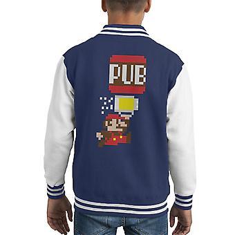 To The Pub Bro Super Mario Kid's Varsity Jacket