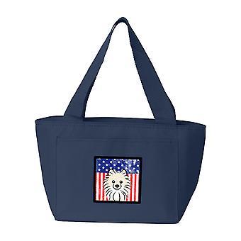 Carolines aarteita BB2137NA 8808 Yhdysvaltain lipun ja Pomeranian lounas laukku