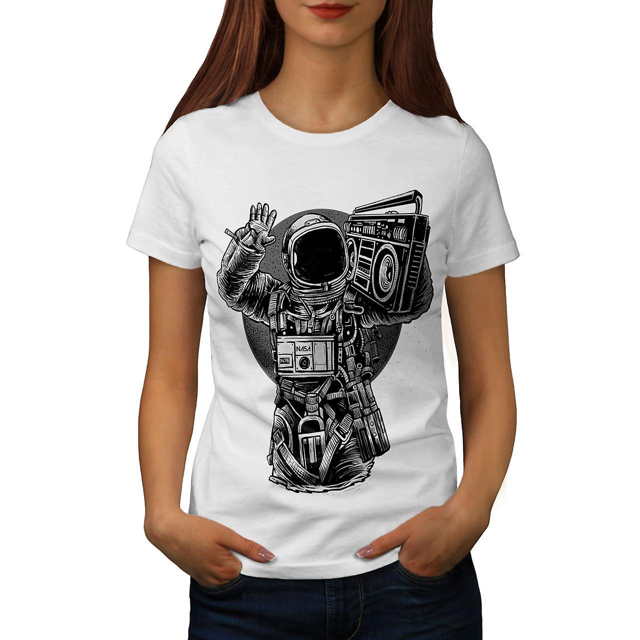 Astronaut Boombox Music Women WhiteT-shirt   Wellcoda   Fruugo
