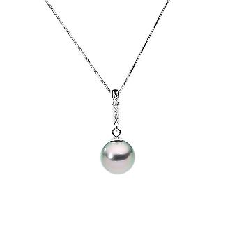 Necklace gold white 375/1000, diamonds and Tahitian Pearl pendant