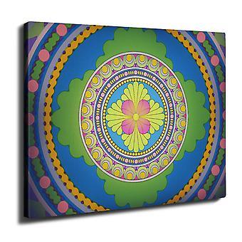 Mandala värikäs Wall Art Canvas 40 cm x 30 cm | Wellcoda