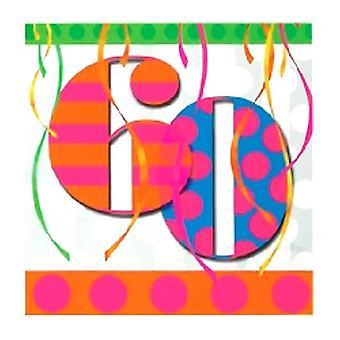 60e ballon lumineux Birthday Party serviettes